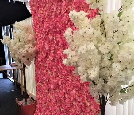 Pink Flower Wall & Blossom Trees Wedding   Chocolate Falls