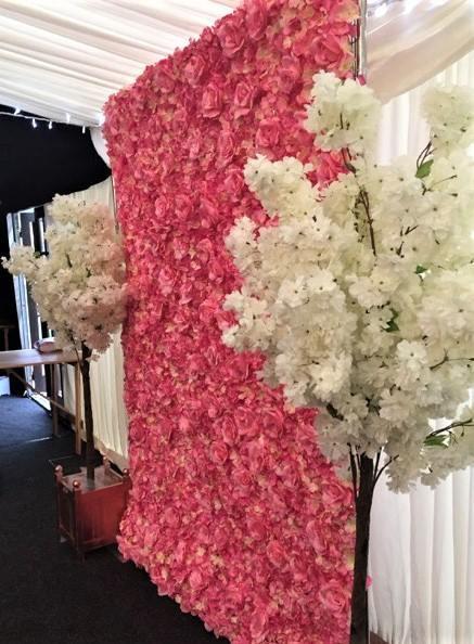 Pink Flower Wall & Blossom Trees Wedding | Chocolate Falls