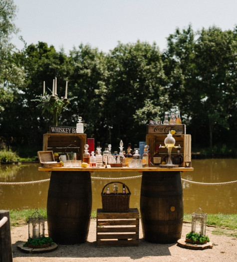 Whiskey Bar Barrel Table Display | Chocolate Falls