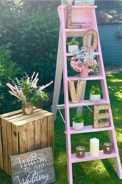 Pink Rustic Ladder Display Events | Chocolate Falls
