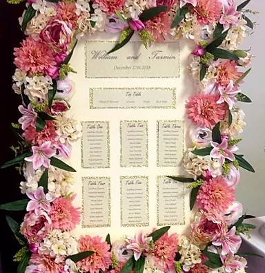 Floral Frame Table Plan Hire   Chocolate Falls