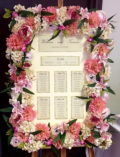 Floral Frame Table Plan Hire | Chocolate Falls