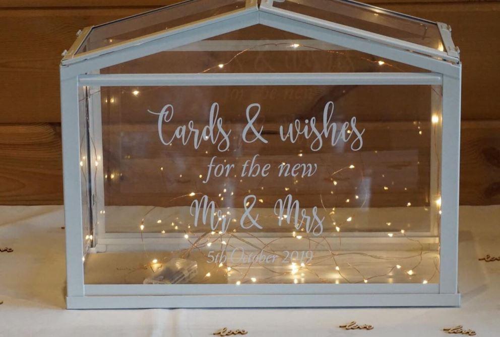 Glass Personalised Wedding Post Box | Chocolate Falls