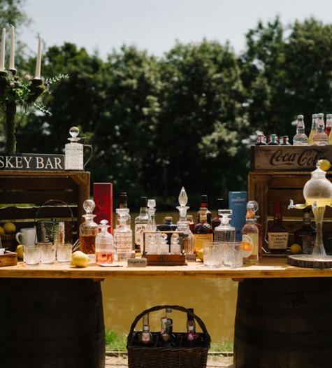 Large Barrel Table Display Hire | Chocolate Falls