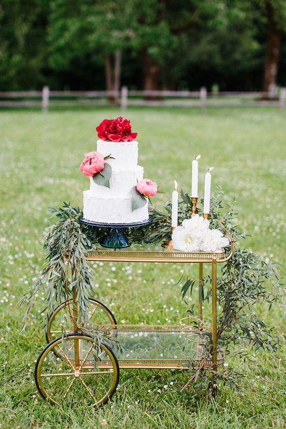Wedding Cake Vintage Trolley Display | Chocolate Falls