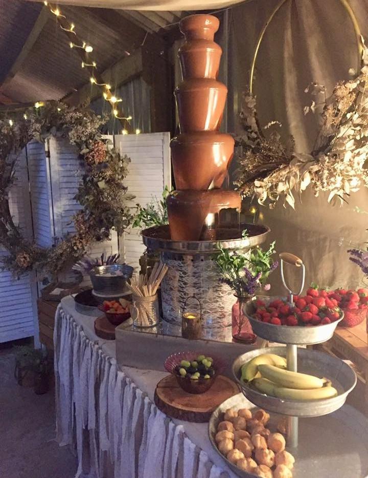 Rustic Boho Chocolate Fountain | Chocolate Falls