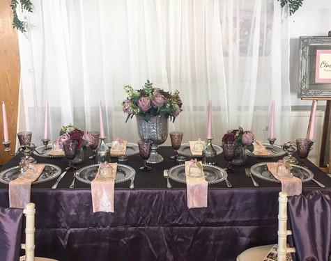 Purple Table Dressing Hire   Chocolate Falls