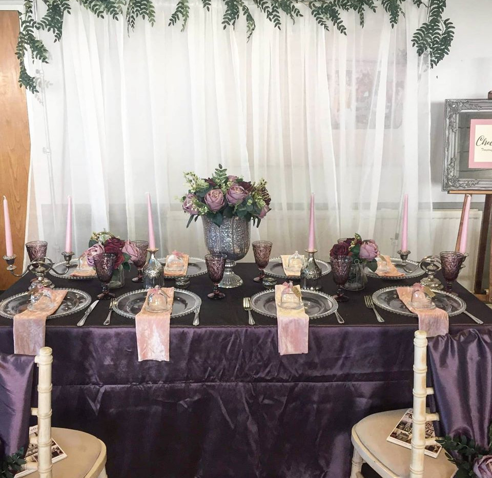 Purple Table Dressing Hire | Chocolate Falls