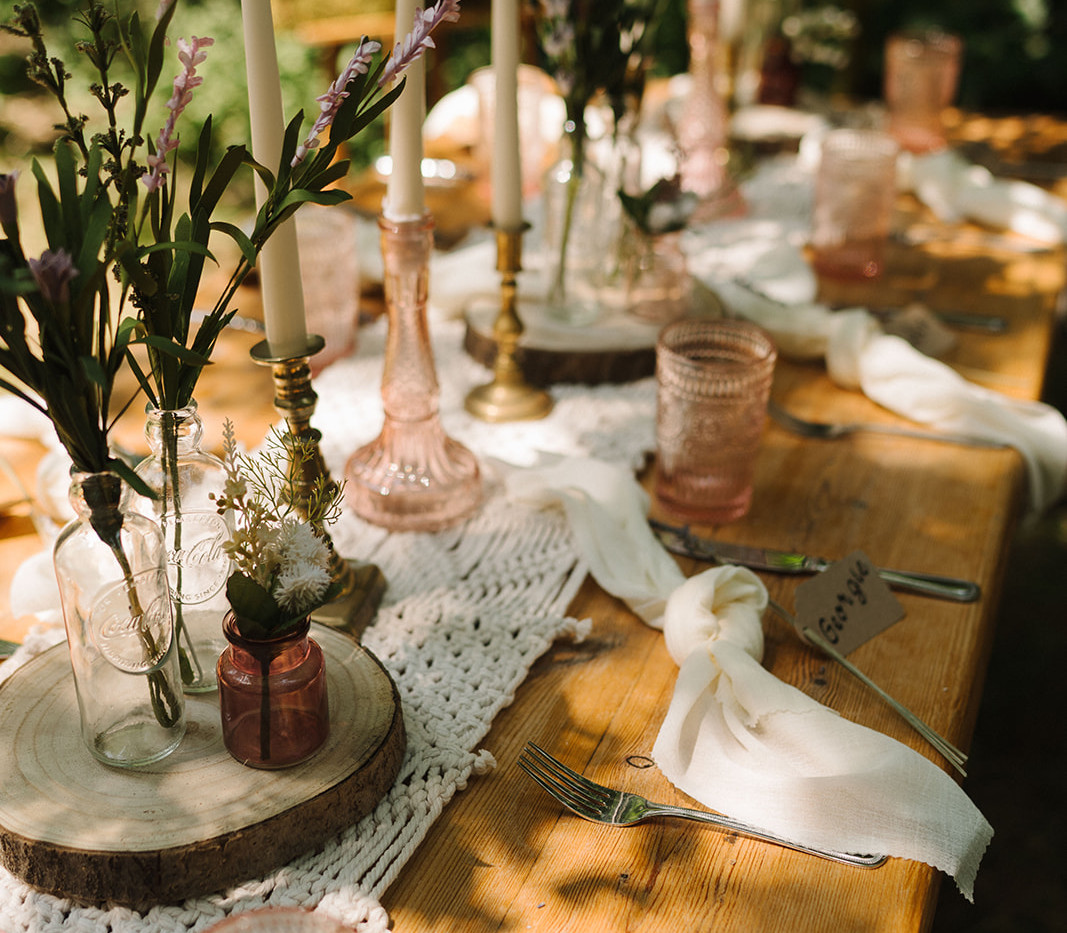 Woodland Wedding Table Setting | Chocolate Falls