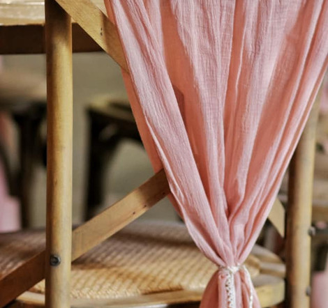 Pink Cheesecloth - Chair Cover | Chocolate Falls