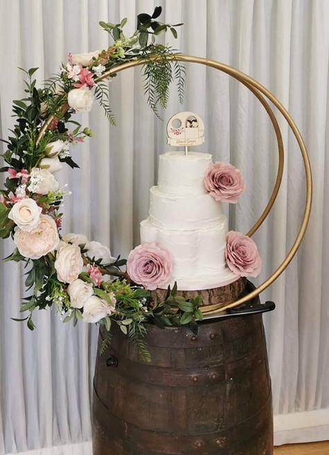 Barrel Table Wedding Cake Display | Chocolate Falls