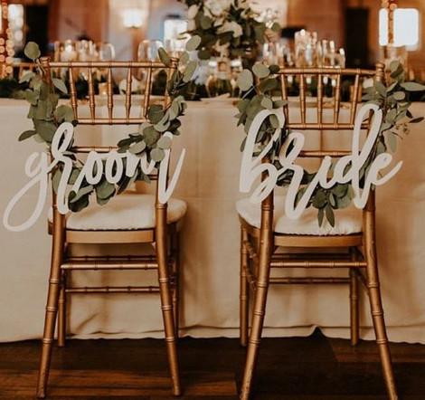 Bride & Groom Chair Signs | Chocolate Falls