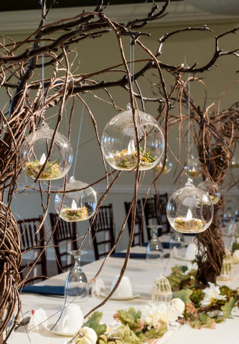 Hanging Glass Balls Enchanted Wedding Hire   Chocolate Falls