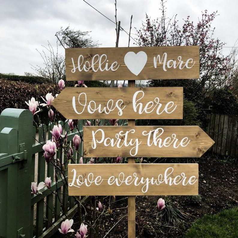 Personalised Arrow Wedding sign | Chocolate Falls