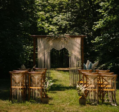 Macrame Outdoor Ceremony Arch & Chairs Boho | Chocolate Falls