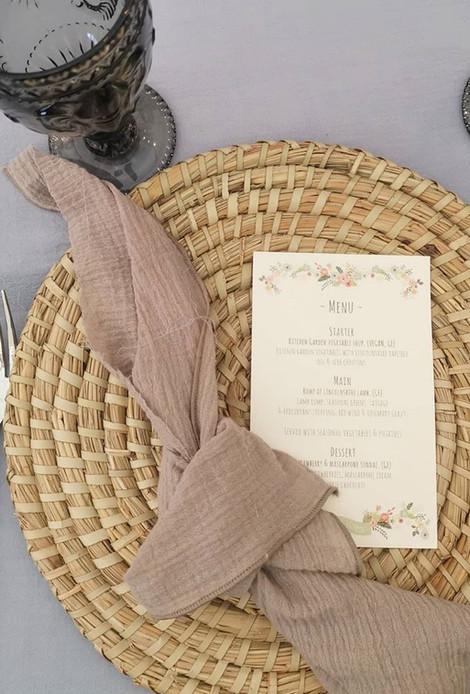 Boho Wedding Wicker Placemats | Chocolate Falls