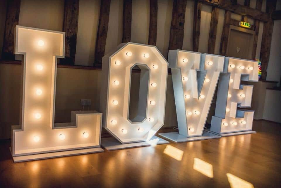 Glam Wedding White Love Letters | Chocolate Falls