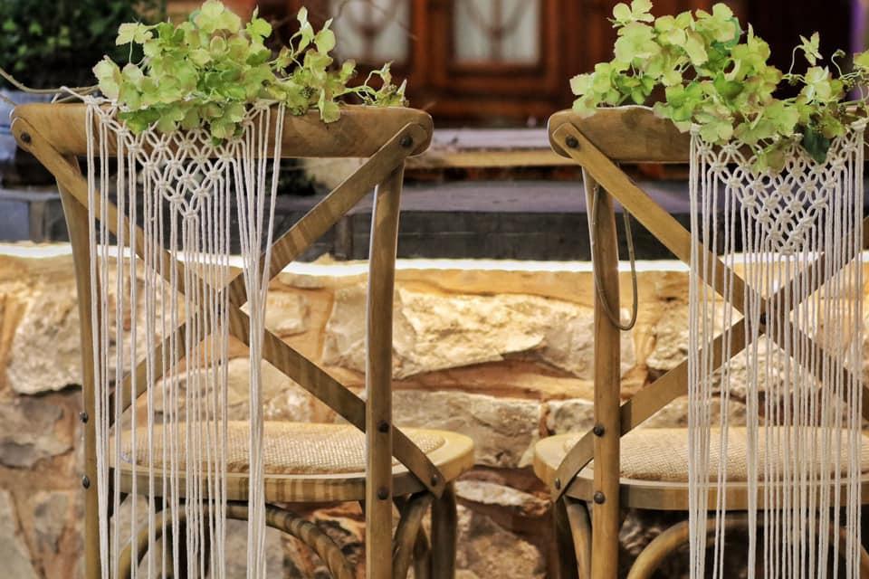 Macrame Chair Covers & Greenery | Chocolate Falls
