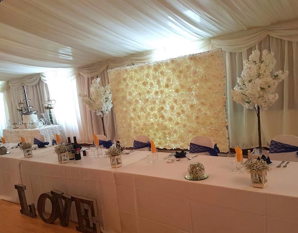 Wedding Top Table Flower Wall Backdrop | Chocolate Falls
