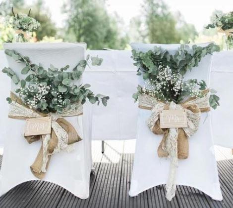 Greenery, Hessian & Spandex Chair Covers | Chocolate Falls