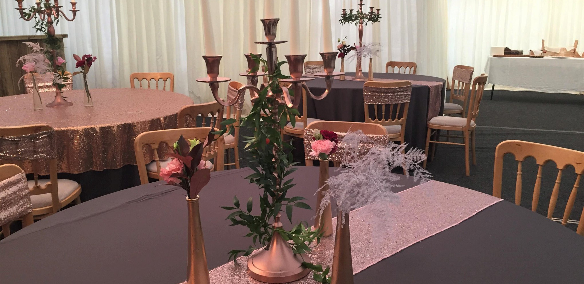 Grey & Glitsy Pink Table Charity Event hire | Chocolate Falls