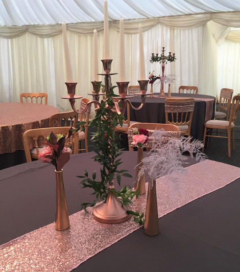 Grey & Glitsy Pink Table Charity Event hire   Chocolate Falls