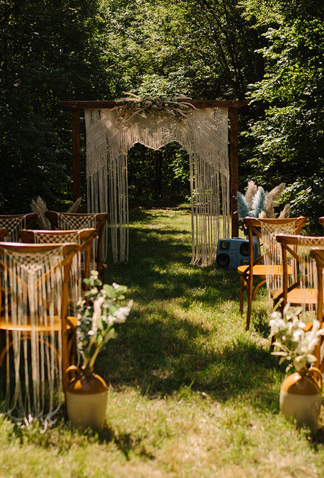 Macrame Boho Outdoor Ceremony Arch & Chairs | Chocolate Falls