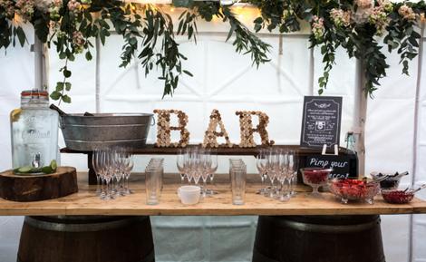 Prosecco Bar Barrel Table | Chocolate Falls