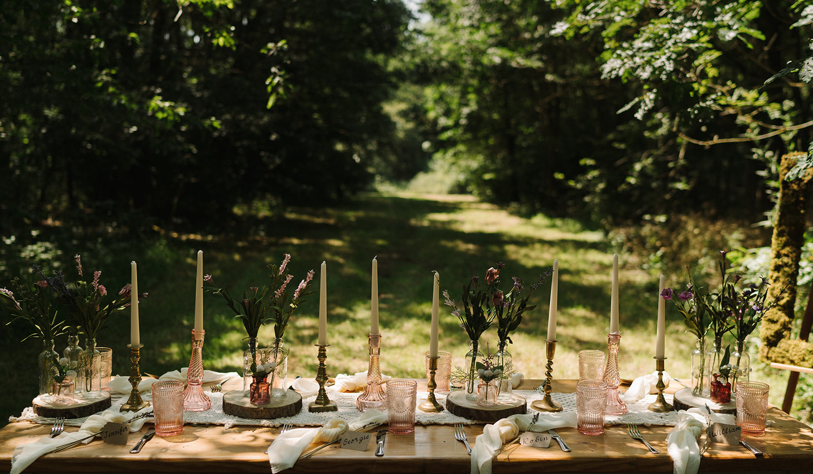 Romantic Woodland Table Setting | Chocolate Falls
