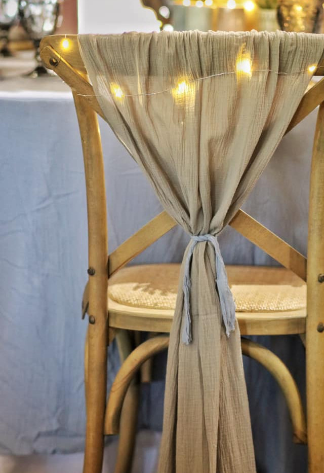 Grey Cheesecloth - Chair Cover | Chocolate Falls