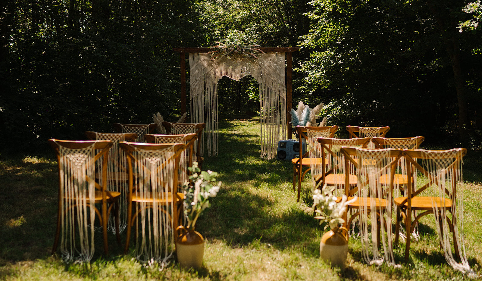 Macrame Outdoor Ceremony Arch & Chairs | Chocolate Falls
