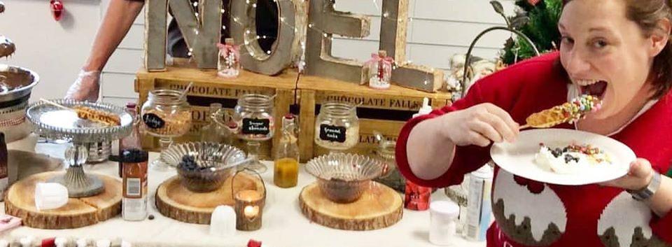 Christmas Party Waffle Bar   Chocolate Falls