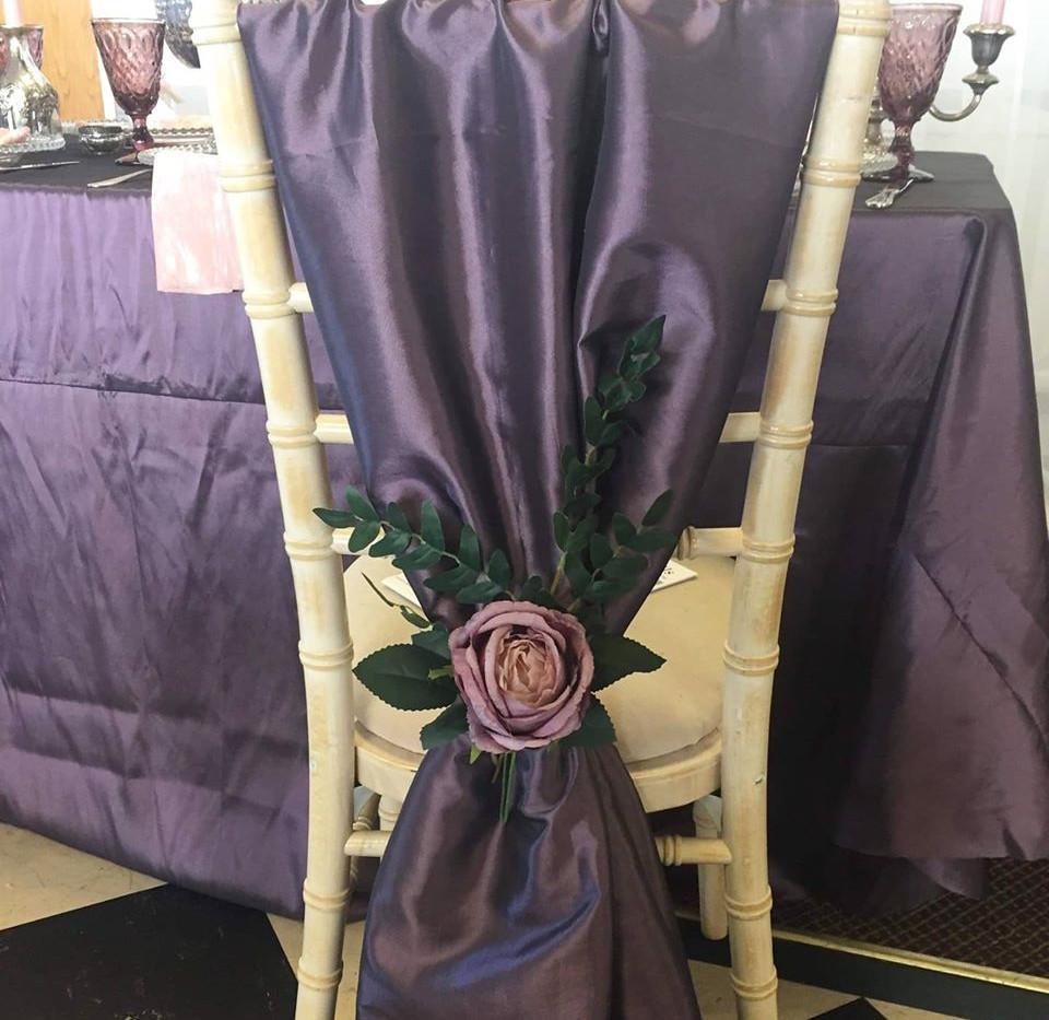 Purple Satin Cover Event Hire | Chocolate Falls
