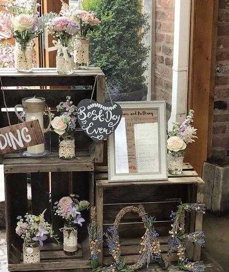Crate Display Corner Simple Wedding | Chocolate Falls