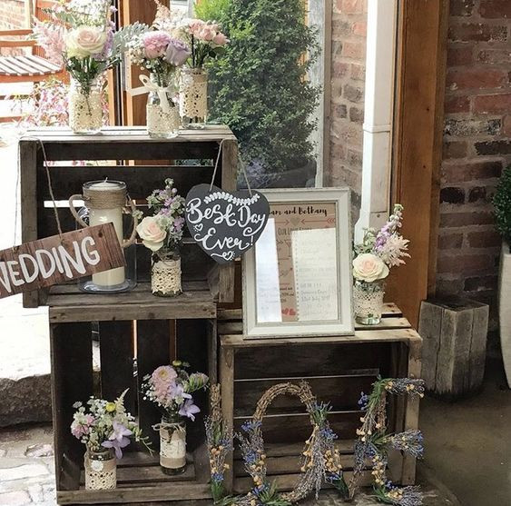 Crate Display Corner Simple Wedding | Chocolate Falls