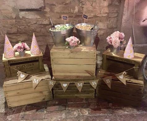 Popcorn Crates Wedding Display   Chocolate Falls