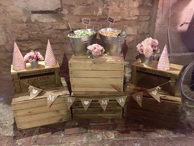 Popcorn Crates Wedding Display | Chocolate Falls