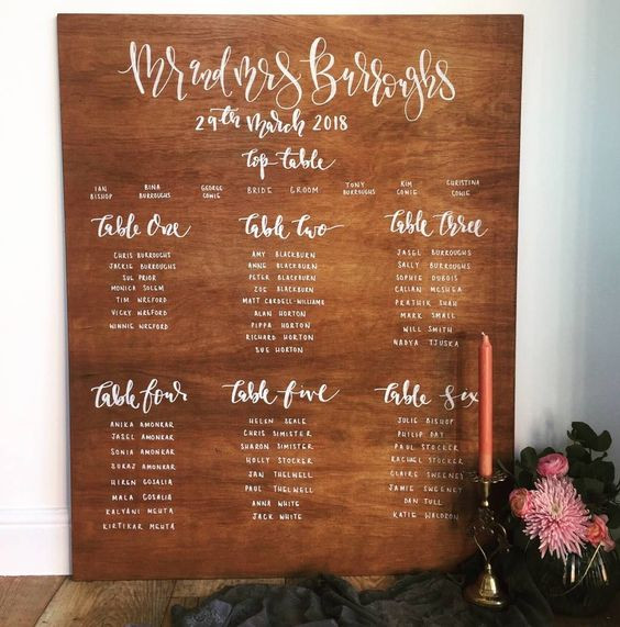 Personalised Wooden Table Plan | Chocolate Falls