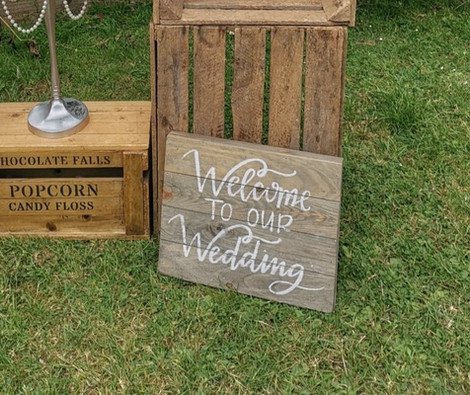 Wooden Welcome to our Wedding Sign and Display   Chocolate Falls