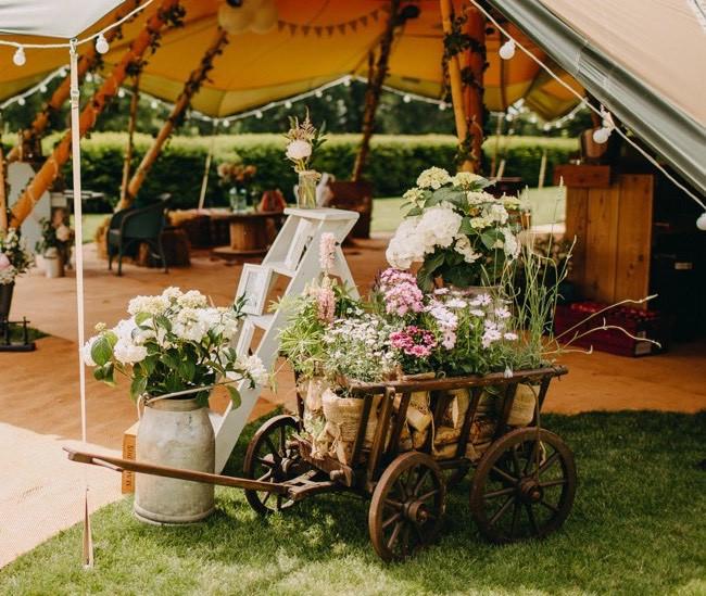 Traditional Dog Cart Flower Display | Chocolate Falls