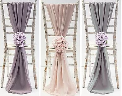 Chiffon Drop Chair Sash Glam Wedding | Chocolate Falls