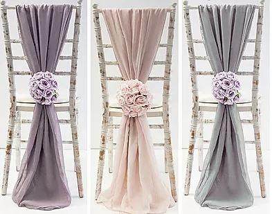 Chiffon Drop Chair Sash Glam Wedding | Chocolate Falls