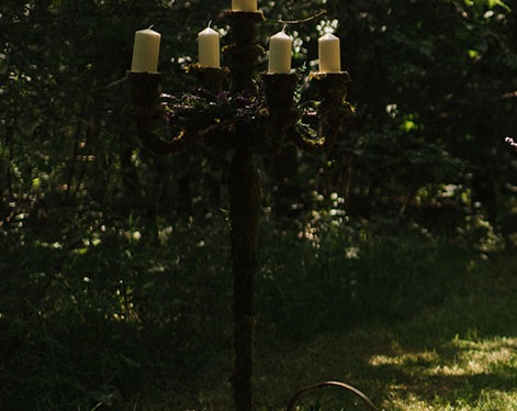 Woodland Wedding Moss Candelabra   Chocolate Falls