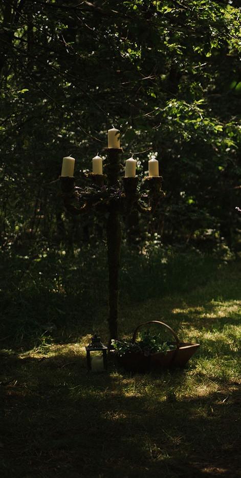Woodland Wedding Moss Candelabra | Chocolate Falls