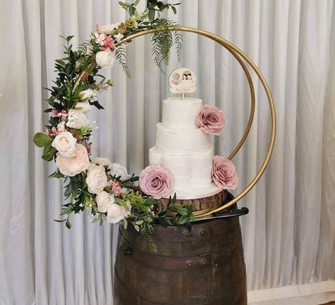 Barrel Table Wedding Cake Display Hire | Chocolate Falls