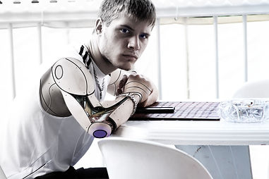 Man with a cybernetic prosthetic arm