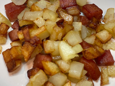 FRIED POTATOES WITH SPAM