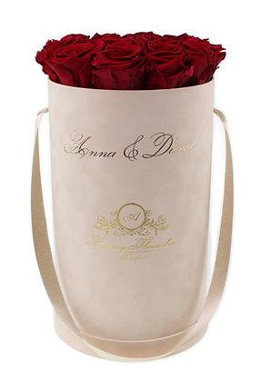 Personalisierte Glamour Velvet (Samt) Flowerbox Beige L