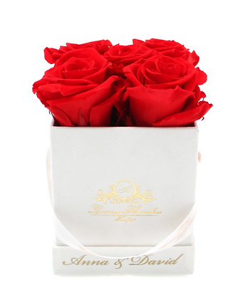 Personalisierte Velvet Square Flowerbox Weiß S