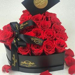 Love Flowerbox mit Roten Rosen und Grußk